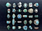 Lot 30 Native Ameican Old Pawn Sterling Silver Turquoise Rings Some Signed (CNN)