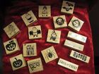 Wood Mounted HALLOWEEN DESIGN RUBBER STAMPS by Craft Smart - Brand New (unused)