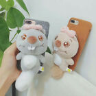 Handmade Back Soft Phone Cover with Lovely Cartoon Plush Chipmunk plush tail