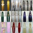 New Cosplay150cm long straight wig purple red white black dark green gold silver