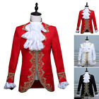 Men's Court Costume Medieval Dress Coat Pants Suits Embroidery Stage Performance