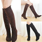 Fashion Women's Thigh High Boots Ladies Over the Knee Low Heel Flat Lace Up Shoe