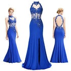 Applique & Beaded Long Evening Formal Party Cocktail Dress Bridesmaid Prom Gown
