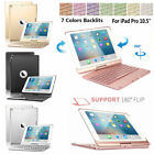7 Colors Backlit Bluetooth Keyboard Smart Rotating Lawsuit Cover For iPad Pro 10.5""