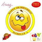 "Emoji 7.5"" Round Personalized Edible Icing Cake Toppers - Various Design"