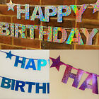 BIRTHDAY PARTY BANNER HOLOGRAPHIC BUNTING PINK BLUE SILVER HAPPY BIRTHDAY