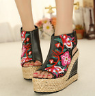 Womens Embroidery Floral Sandals weave High Wedge Heel Platofrm Shoes Open Toe