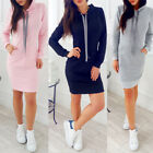 Women's' Ladies Hooded Hoody Sweatshirt Long Sleeve Bodycon Hoodies Jumper Dress
