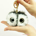 New Girls Ladies Large Owl Pom Pom Keyring Fluffy Bag Charm 4 Colours Xmas Gifts