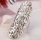 Hot Fashion Hollow Out Flower Rhinestone Full Finger Armor Joint Knuckle Ring