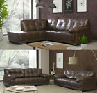 Alexis LH RH Corner Sofa Brown Leather Collection 3 + 2 Seater Set With Chrome