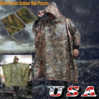 Waterproof Hooded Ripstop Camo Rain Coat Poncho Military Hunting Camping Hiking