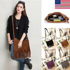 Tassel Faux Leather Handbag Messenger Satchel Fringe Crossbody Shoulder Bag