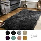 Sienna Large Shaggy Floor Rug Plain Soft Sparkle Mat 5cm Thick Pile From £17.50