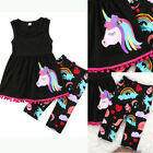 US STOCK Unicorn Kids Baby Girl Outfit Clothes T-shirt Long Tops Dress+Pants Set