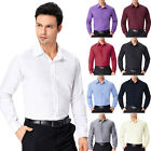 Mens Dress Shirts Slim Fit Tops Basic Office Tee Casual Formal Business Shirts