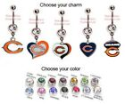 NFL CHICAGO BEARS AUTHENTIC LOGO CHARM DANGLE NAVEL BELLY BUTTON RING!
