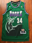 NBA Milwaukee Bucks Ray Allen Throwback Hardwood Sewn/Stitched Green Jersey NWT