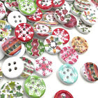 100pcs 15mm Christmas Wood Flatback/Buttons Scrapbook embellishment craft W424