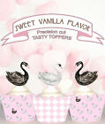 Black White Swan Baby shower first  birthday Party cupcake cake Toppers Cup Cake