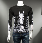 Fashion Men's Casual Personality horse Printing Men Sweaters woolen tops shirts