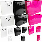 NEW PAPER BAG GLOSSY BLACK PINK WHITE BAGS KRAFT SOS FOOD LUNCH PARTY BAGS