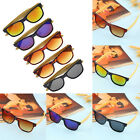 Vintage Men Women Bamboo Sunglasses Polarized Wooden frame glasses Wood blue QQ