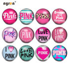 12pcs 18mm Ginger Snap Button Love Pink Themes Glass Charms For Snap Jewelry