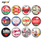 12pcs 18mm Ginger Snap Button Valentine Themes Glass Charms For Snap Jewelry