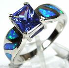 1.06 Ct Tanzanite & Blue Fire Opal Inlay Solid 925 Sterling Silver Ring size 6-9