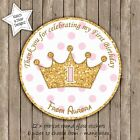 PRINCESS CROWN PINK & GOLD POLKA DOTS PERSONALISED ROUND GLOSS PARTY STICKERSx12