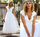 2018 Scalloped Lace Cap Sleeve V Neck A Line Wedding Gown Bridal Dress for Bride