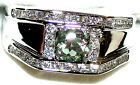 Men's Natural Green Mystic & White Topaz Stainless Steel Ring  9W039