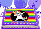 Rainbow Dabbing Unicorn Dancing birthday Party Cake Decoration icing sheet