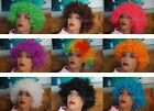 Afro Wigs Curly Clown 70s 80s Fancy Dress 14 Colours Football Rugby World Cup