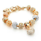 European Heart Charm Bracelet With Quality Crystal Beads 19 cm - 22 cm