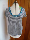 BODEN NAVY BLUE WHITE STRIPED TOP WITH HOTCHPOTCH NECKLINE DETAIL SMALL BNWT