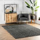 nuLOOM Hand Made Modern Wool and Cotton Blend Area Rug in Black and White