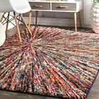 nuLOOM Contemporary Modern Abstract Area Rug in Purple, Pink, Blue Multi