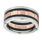 Titanium Wedding Band 9mm Multi Grooved Rose Tone Center Promise Ring