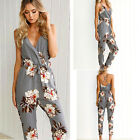 Womens V Neck Floral Jumpsuit Ladies Strap Clubwear Trousers Overalls Playsuit