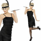 Ladies 1920s Black Flapper Fancy Dress Costume 20s Outfit Smiffys 33451