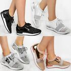 New Womens Runners Bali Sneakers Glitter Trainers Stretch Black Silver Rose Size