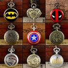 Antique Steampunk Superhero Pocket Quartz Watch Vintage Pendant Necklace Chain image