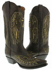 Women's Brown Cross Wings Inlay Gold Sequins Leather Cowboy Boots Snip Toe