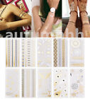 Women Fashion Gold Silver Temporary Metallic Tattoo Body Henna Jewellery Sticker