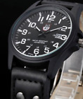 Mens WW2 Military Style Watch Analog Quartz Date Dark Leather Strap image