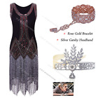 Womens 1920s Flapper Dress Gatsby 20s Sequin Beaded Party 4 6 8 10 12 14 16 18