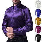 Fashion Mens Long Sleeve Casual Shirts Silk-Like Satin Shirt Tops Dance Dress UK
