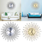 Luxury Aluminium Dial Sunburst Diamante Metal Wall Clocks Living Room Home Decor